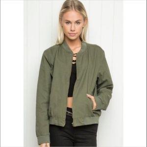 Brandy Melville Olive green bomber jacket